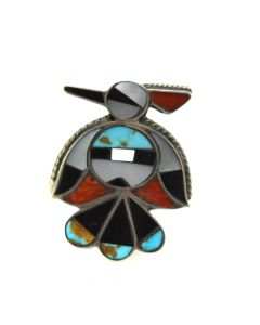 Zuni Multi-Stone Channel Inlay and Silver Thunderbird Ring c. 1960s, size 6.5 (J12290)
