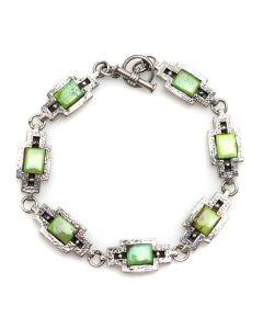 Lilly Tom - B.G. Mudd Company - Navajo Gaspeite and Silver Linked Bracelet c. 1980s, size 7 (J12295)