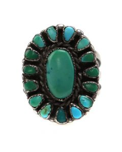 Navajo Turquoise Cluster and Silver Ring c. 1940s, size 6.25 (J12297)