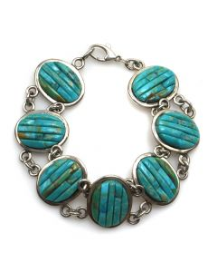Pete Sierra - Navajo Contemporary Turquoise Corn Design and Silver Linked Bracelet, size 8 (J12305)