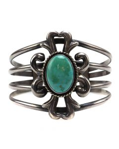 Navajo Turquoise and Silver Bracelet with Sandcast Design c. 1960s, size 6.25 (J12309)