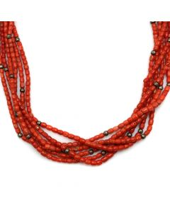 "Navajo Six-Strand Coral and Silver Beaded Necklace c. 1970s, 24"" length (J12317)"