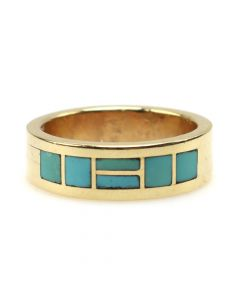 Sheldon Wastika - Zuni Turquoise Channel Inlay and 14K Gold Ring c. 1990-2000s, size 6.5 (J12324)