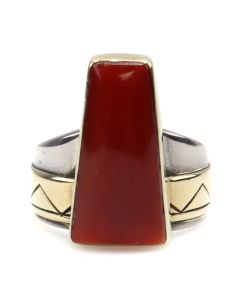 Ned Nez (b.1959) - Navajo Coral, Silver and 14K Gold Ring c. 1990s, size 6.75 (J12325)