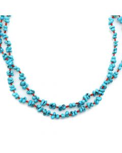 """Navajo Turquoise, Coral, and Silver Beaded Necklace c. 1980s, 22"""" length (J12346)"""