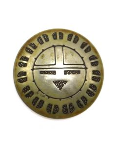 "Navajo Silver Sunface Kachina Button c. 1970s, 1"" diameter (J12349)"