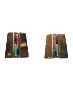 "Carlos Eagle - Ottawa Multi-Stone and 14K Gold Post Earrings c. 1970-80s, 1"" x 1"" (J12354)"
