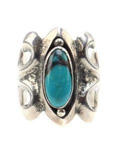 Navajo Turquoise and Silver Sandcast Ring c. 1960s, size 6.75 (J12355)