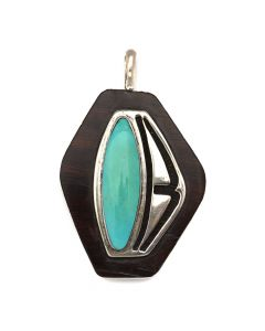 "Non-Native Turquoise, Ironwood, and Silver Pendant c. 1980s, 2.75"" x 1.75"" (J12371)1"
