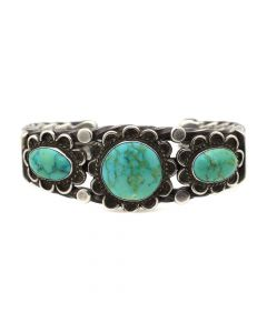 Navajo Turquoise and Silver Bracelet c. 1950s, size 6 (J12372)