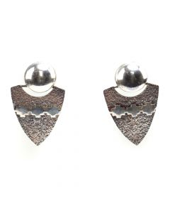 "Alfred Joe (b. 1950) - Navajo Silver Post Earrings c. 2002, 1.125"" x 0.875"" (J12385)"
