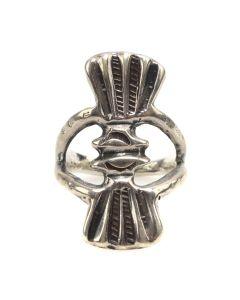 Navajo Silver Sandcast Ring c. 1960s, size 7.75 (J12390)