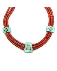 "Donovan Crespin - Santo Domingo (Kewa) Three-Strand Apple Coral and Multi-Stone Necklace c. 1980-90s, 18"" length (J12393)"