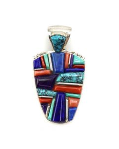 """Randy Boyd - Navajo Multi-Stone Cobble Inlay and Sterling Silver Pendant c. 1990s, 2.25"""" x 1.25"""" (J12394)"""