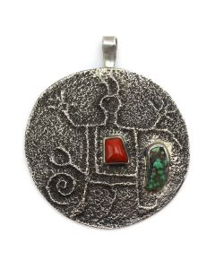"""John Hornbeck - Anglo Turquoise, Coral and Silver Tufacast Pendant c. 1990s, 3"""" x 2.75"""" (J12398)"""