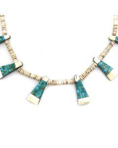 """Santo Domingo (Kewa) Depression Era-Style Turquoise and Heishi Necklace c. 1980s, 18.5"""" length (J12399)"""