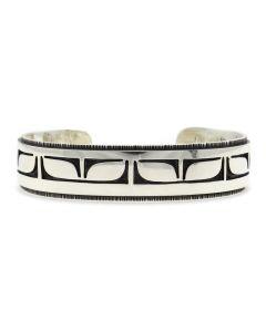 Timmy Yazzie - Navajo/San Felipe Contemporary Sterling Silver Overlay Bracelet, size 6.5 (J12407)