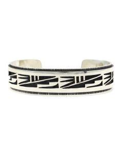 Timmy Yazzie - Navajo/San Felipe Contemporary Sterling Silver Overlay Bracelet, size 6 (J12408)