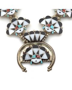 "William Zunie (1938-1983) - Zuni Multi-Stone Channel Inlay and Silver Sunface Kachina Squash Blossom Necklace c. 1960s, 27"" length (J12415)"