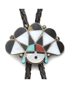 "Zuni Multi-Stone Channel Inlay and Silver Bolo Tie with Sunface Kachina Design c. 1960s, 1.25"" x 1.875"" (J12416)"