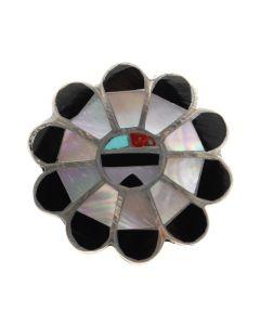 Zuni Multi-Stone Channel Inlay and Silver Sunface Kachina Ring c. 1960s, size 7.5 (J12417)