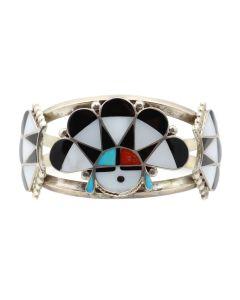 Zuni Multi-Stone Channel Inlay and Silver Bracelet with Sunface Kachina Design c. 1960s, size 6.75 (J12418)