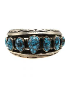 Mark Chee (1914-1981) - Navajo Lone Mountain Turquoise and Silver Bracelet c. 1950s, size 6 (J12420)