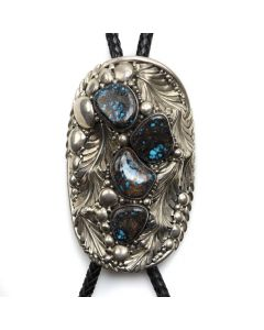 "David Zachary (b. 1942) - Navajo Lander Blue Turquoise, Silver, and Leather Bolo Tie c. 1970s, 4.5"" x 2.75"" (J12421-CO)"