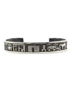 Roland Begay - Navajo Contemporary Sterling Silver Overlay Storyteller Bracelet, size 6.5 (J12450)