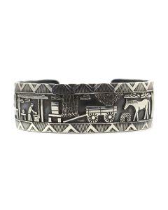 Roland Begay - Navajo Contemporary Sterling Silver Storyteller Bracelet, size 6.25 (J12452)