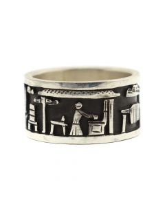 Roland Begay - Navajo Contemporary Sterling Silver Overlay Storyteller Ring, size 4 (J12459)