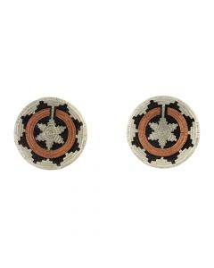 "Roland Begay - Navajo Contemporary Sterling Silver and Copper Overlay Wedding Basket Post Earrings, 1"" diameter (J12478)"