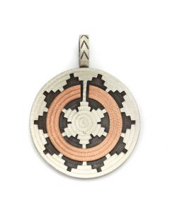 "Roland Begay - Navajo Contemporary Sterling Silver and Copper Overlay Wedding Basket Pendant, 2.25"" x 1.75"" (J12497)"