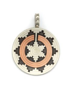 "Roland Begay - Navajo Contemporary Sterling Silver and Copper Overlay Wedding Basket Pendant, 2.25"" x 1.75"" (J12498)"