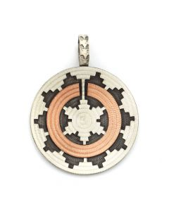 "Roland Begay - Navajo Contemporary Sterling Silver and Copper Overlay Wedding Basket Pendant, 2.25"" x 1.75"" (J12499)"