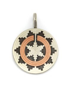"Roland Begay - Navajo Contemporary Sterling Silver and Copper Overlay Wedding Basket Pendant, 2"" x 1.5"" (J12501)"