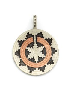 "Roland Begay - Navajo Contemporary Sterling Silver and Copper Overlay Wedding Basket Pendant, 2"" x 1.5"" (J12502)"