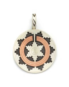 "Roland Begay - Navajo Contemporary Sterling Silver and Copper Overlay Wedding Basket Pendant, 1.75"" x 1.25"" (J12506)"
