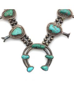 "Navajo Turquoise and Silver Squash Blossom Necklace c. 1940s, 24"" length (J12517)"