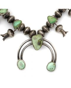 "Lot 158 - Navajo Turquoise and Silver Squash Blossom Necklace with Liberty Dime Beads c. 1940s, 26"" length (J12524)"