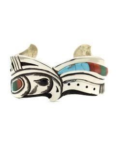 Roy Talahaftewa - Contemporary Hopi Multi-stone Inlay Silver Overlay Bracelet with Eagle Design, size 6.75 (J12527)