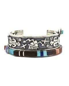 Roy Talahaftewa - Contemporary Hopi Multi-Stone Inlay Silver Overlay Bracelet with Hopi Motifs, size 6.5 (J12528)