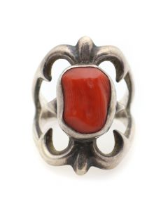 Navajo Coral and Sandcast Silver Ring c. 1950s, size 5.25 (J12529)