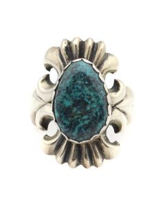 Wilson Begay - Navajo Turquoise and Silver Sandcast Ring c. 1960s, size 7.75 (J12532)