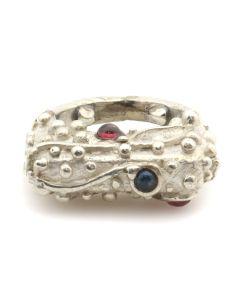 Glenda Loretto - Jemez Multi-Stone and Sterling Silver Ring c. 1980s, size 3.75 (J12535)