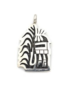 "Hopi Sterling Silver Overlay Pendant with Kachina and Cornstalk Design c. 1980s, 1.5"" x 1"" (J12545)"