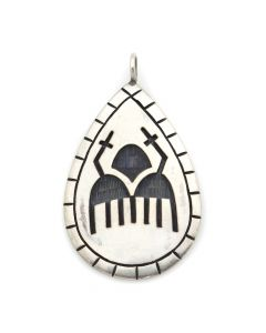 "Benjamin Mansfield - Hopi Silver Overlay Pendant with Cloud Design c. 1980s, 1.625"" x 1"" (J12547)"