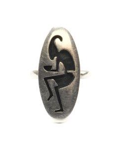 Alvin Taylor - Hopi Sterling Silver Overlay Ring with Kachina Dancer Design c. 1990s, size 6 (J12564)
