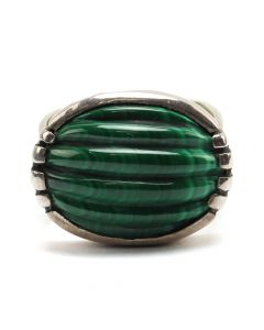 Navajo Malachite and Silver Ring c. 1970s, size 4 (J12567)