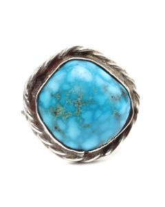 Navajo Turquoise and Silver Ring c. 1950s, size 6 (J12574)